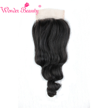 Wonder Beauty Remy Hair Brazilian Loose Wave 4 x 4 Free Part Swiss Lace Closure Natural Color 100% Human Hair Free Shipping