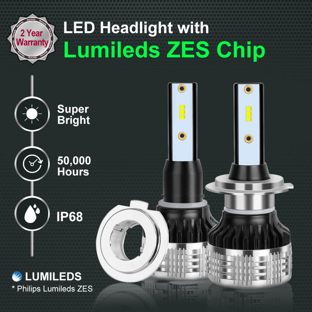 Image 2 - 2 pièces H4 H7 Led H1 H11 H8 H3 HB4 HB3 H27 Led avec Lumileds ZES puces Canbus voiture phares ampoules 80W 12000LM Auto lampe Automobiles-in Phare Ampoules from Automobiles et Motos on AliExpress