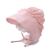 Кружевная шапочка принцессы для новорожденных 0-8 месяцев, винтажная шапочка для маленьких девочек