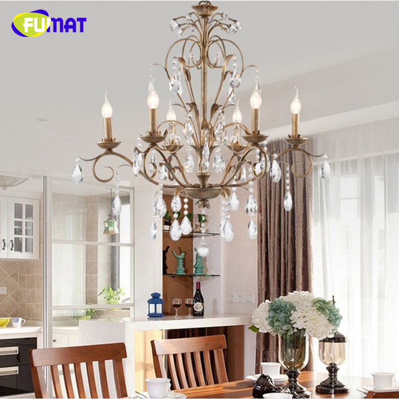 FUMAT K9 Crystal Chandeliers European Retro Artistic Candles Suspension Lightings Living Room Bedroom Art Deco Hanging Lampe