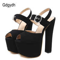 Gdgydh Fashion Buckle High Heels Sandals Women Spring Summer Flock Solid Color Platform Shoes Females Black Beige Party Shoes