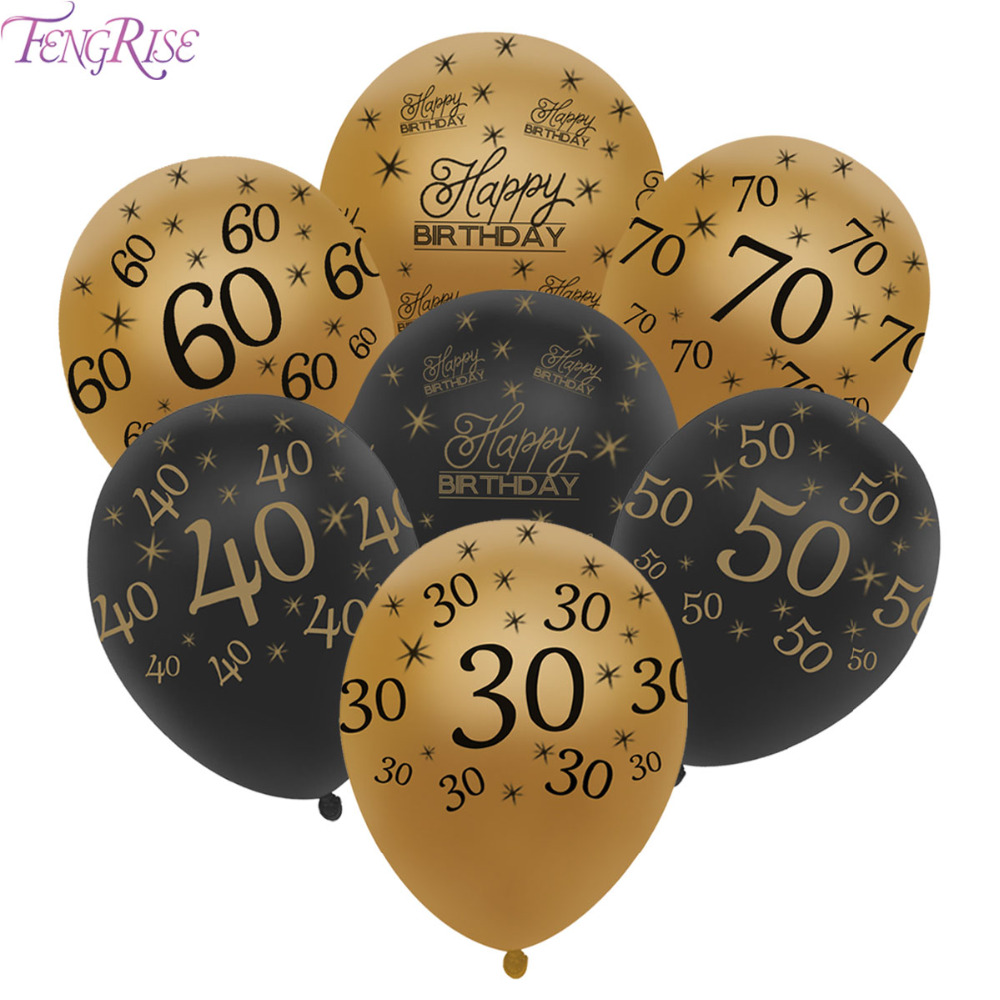 FENGRISE 10pcs 12inch Gold 30th 40th 50th Happy Birthday Balloons Decoration Wedding Anniversary Balloon Black Party Supplies