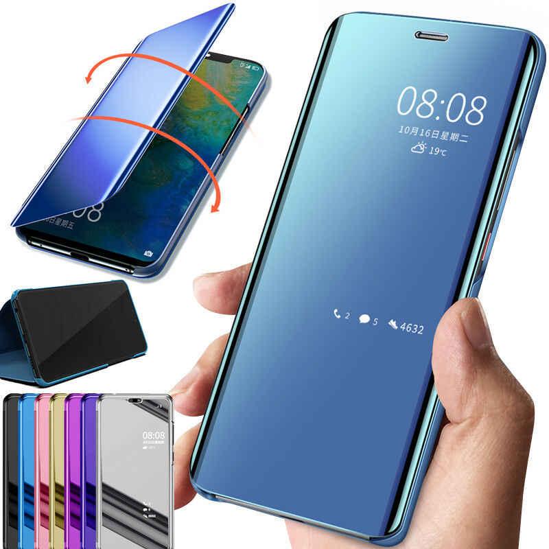 MAYO para Samsung Galaxy A20s Funda,Espejo Ultra Slim Ligero Flip Funda Clear View Standing Cover Mirror Funda Inteligente Anti-Scratch Protector Cover para Samsung Galaxy A20s-Oro Rosa