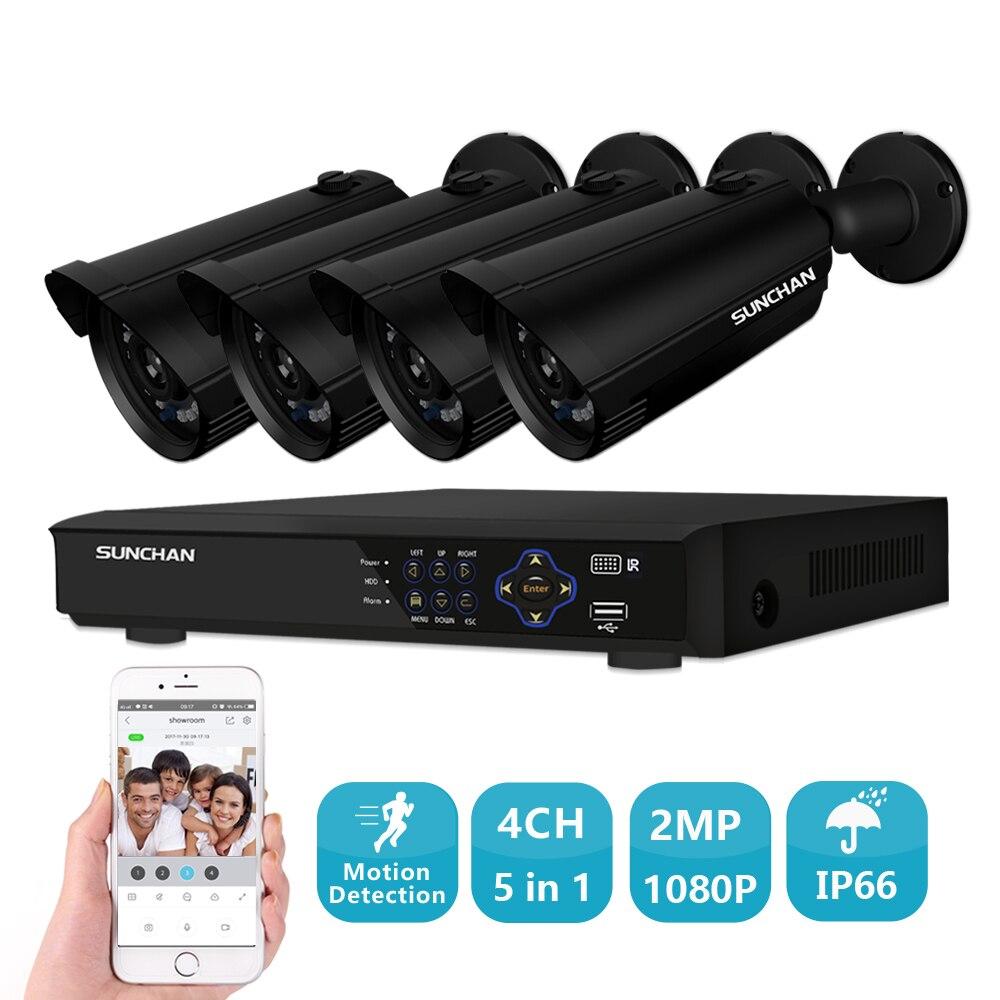 SUNCHAN 4CH Full HD CCTV Système 1080 P HDMI AHD CCTV DVR 4 PCS 2.0 MP IR Extérieure Caméra de Sécurité de Surveillance DVR Kit
