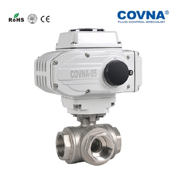 2 inch ANSI Electric Actuator  3 Way L and T Type Stainless steel Ball Valve Full Port NPT female thread onoff type device