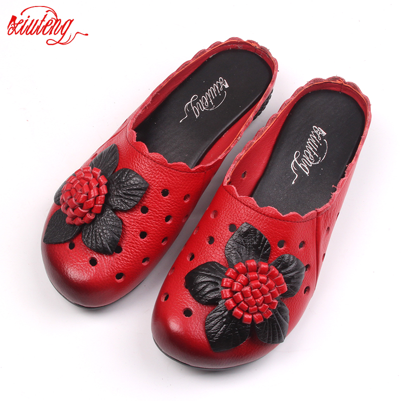 Xiuteng 2019 Summer Slippers Genuine Leather Sandals Cut Out Handmade Flower Flat Shoes Comfortable Round Toes Women Slippers