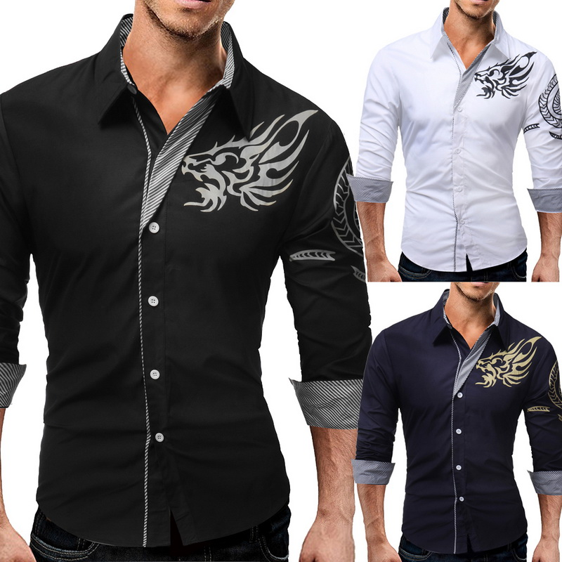 Hemden Marke 2018 Mode Männlichen Hemd Lange-Ärmel Chinesischen Stil Tops Einfache Inkjet Muster Mens Kleid Shirts Dünnen Männer Shirt Xxxl
