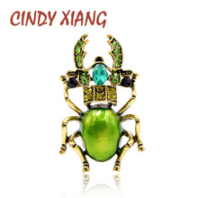 CINDY XIANG 3 Colors Available Rhinestone Beetle Brooches for Women Enamel Insect Brooch Pin Small Bugs Jewelry New Arrival Gift