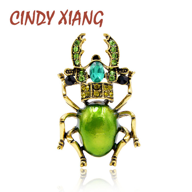 CINDY XIANG 3 Colors Available Rhinestone Beetle Brooches for Women Enamel Insec