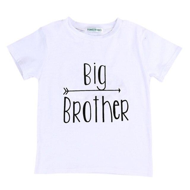 8b17ebfc68624 Big Brother impreso bebé niños Niños manga corta Camiseta verano algodón  Tops Camiseta básica de los