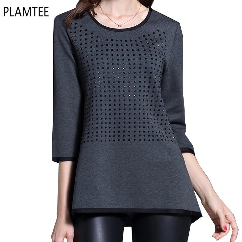 Fashion diamonds female t shirt round neck three quarter for Large shirt neck size