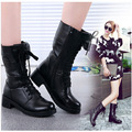 Outono Inverno 2016 Mulheres de Estilo Inglaterra Sapatos de Couro Genuíno Sapatos de Couro Martin Bota Mulheres Mid-Calf Motorcycle Botas Cadarço