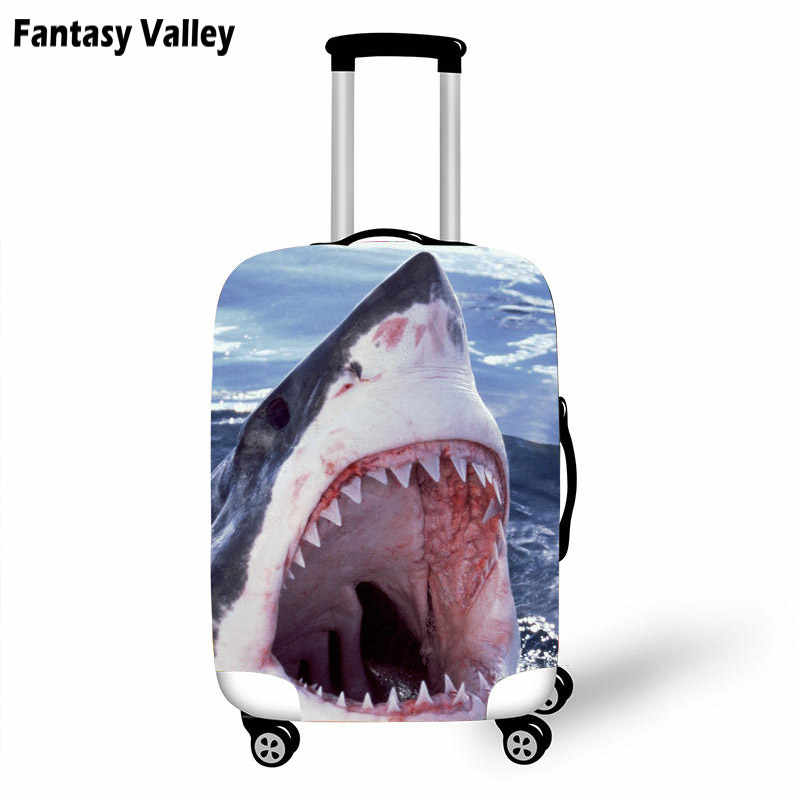 Цветной большой рот Акула багажный чехол для мужчин и женщин эластичный герметичный чемодан защитные чехлы Защита от ЛАГ 18-32 дюймов Чехол