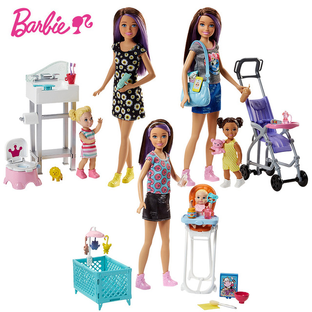 Original Barbie Doll Baby Nursery 3Style Gift Set Barbie Take Care of the Baby Girls PlayToys for children Birthday Gift bonecas free shipping new arrival christmas birthday gift children play set dining roon accessories for barbie doll