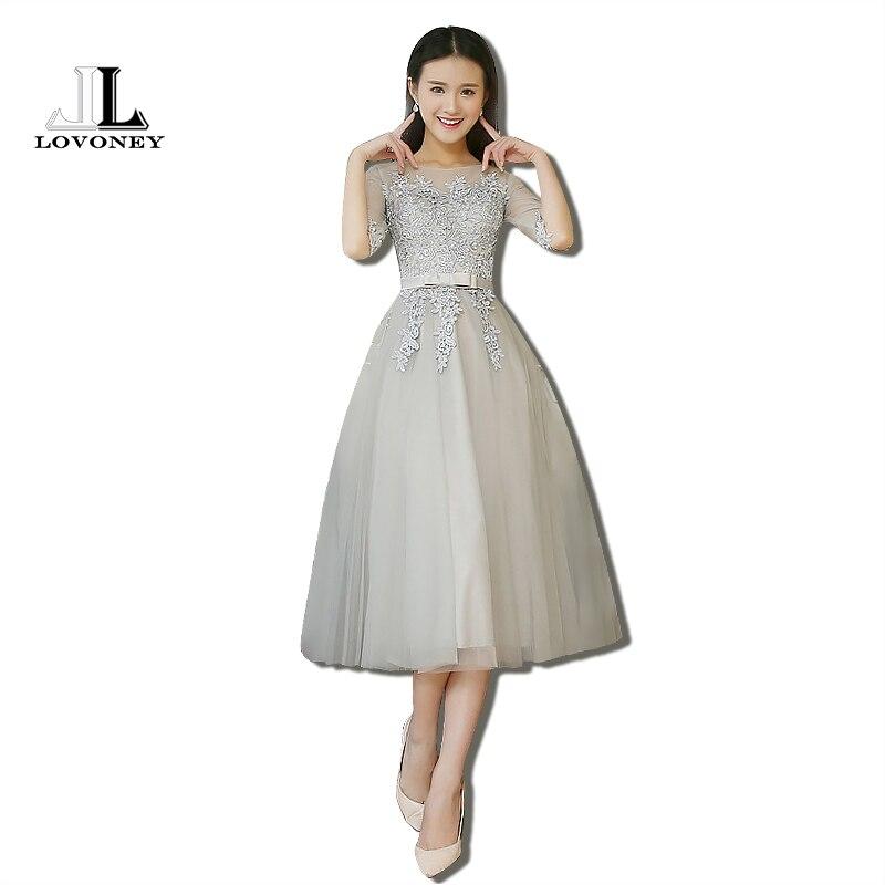 LOVONEY T409 Real Photo A Line Tea Length Prom Dresses bc391df1c07e