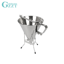 GZZT Stainless Steel Oil Funnel 1.75L Hopper Funnel For Waffle Mixture Dispenser Takoyaki Octopus Funnel Kitchen Baking Tool jiqi octopus balls filler takoyaki stainless steel filling funnel manual waffle batter separator chocolate cream baked hopper