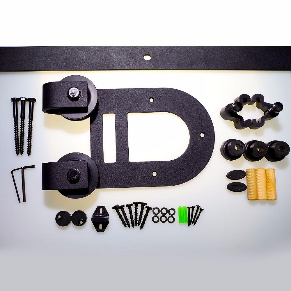 LWZH 16ft-20ft Sliding Door Hardware Kits America style Double Hourse Shaped Sliding Closet Door Track Roller for Single Door