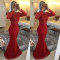 Long Sleeve Prom Dress Gray Lace Appliques Slim Mermaid Prom Gown Sexy Side Slit Beading Evening Dress Vestidos De Fiesta