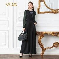 VOA Heavy Silk Office Jumpsuits Women Plus Size 5XL High Waist Slim Tunic Black Print Boho Long Sleeve Basic Wide Leg Pants K399