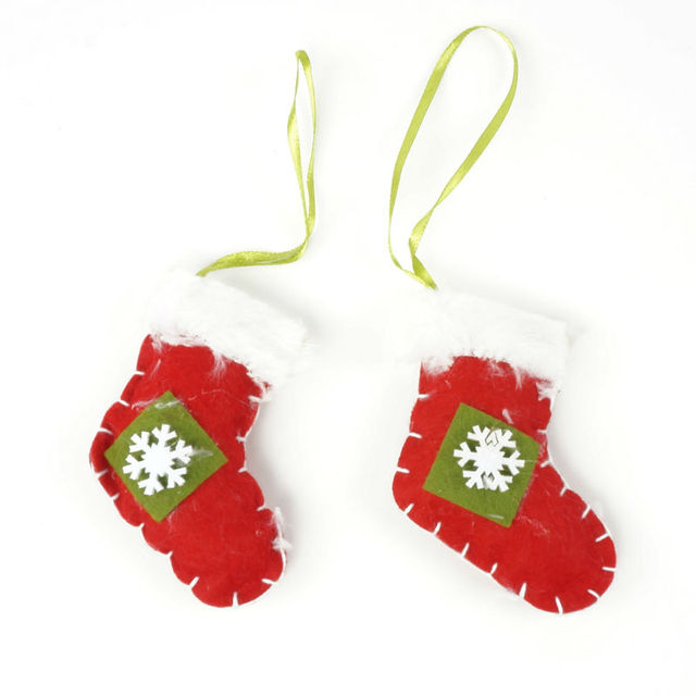 cheap christmas ornament 1 set hanging sock fabrics christmas tree decoration for home cloth craft christmas