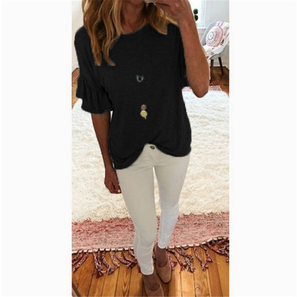 Top Summer Simple Short-Sleeve Loose Solid-Color Large-Size Casual G6