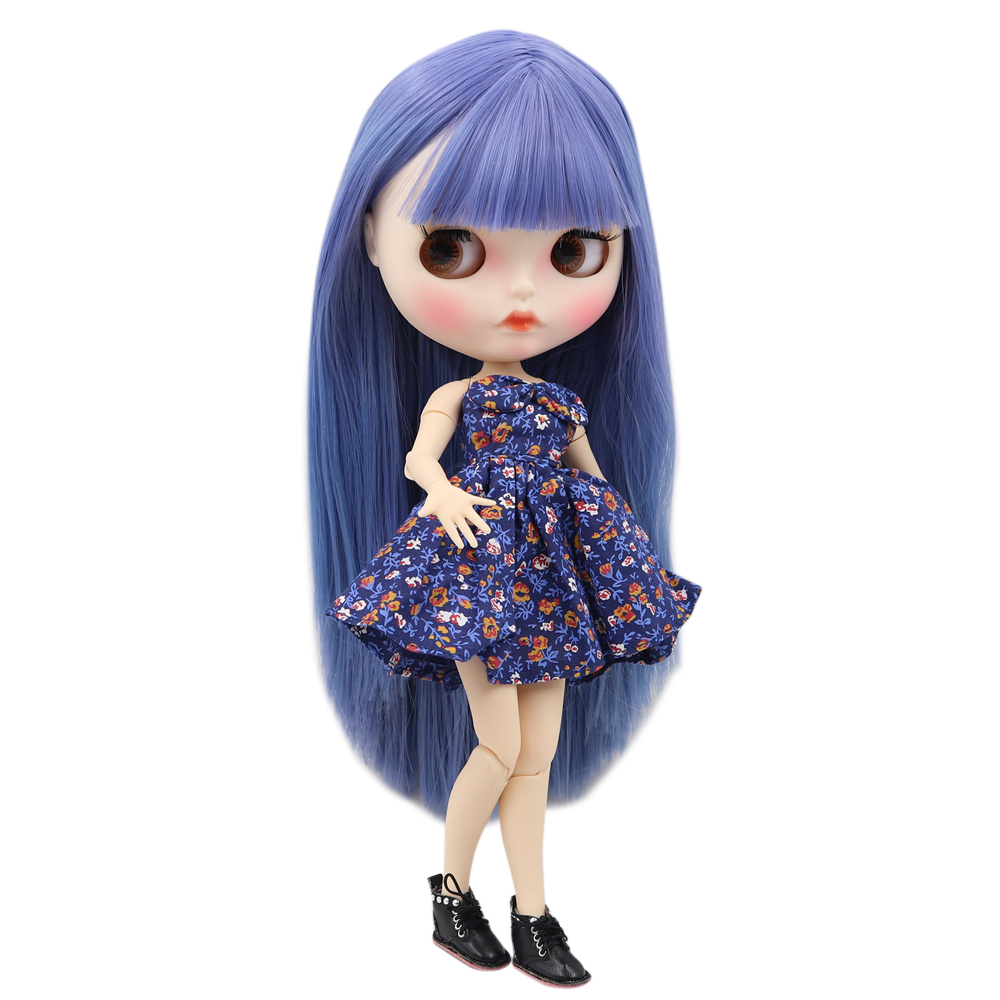 Blyth doll 1 6 bjd white skin joint body New color changeable purple straight hair matte
