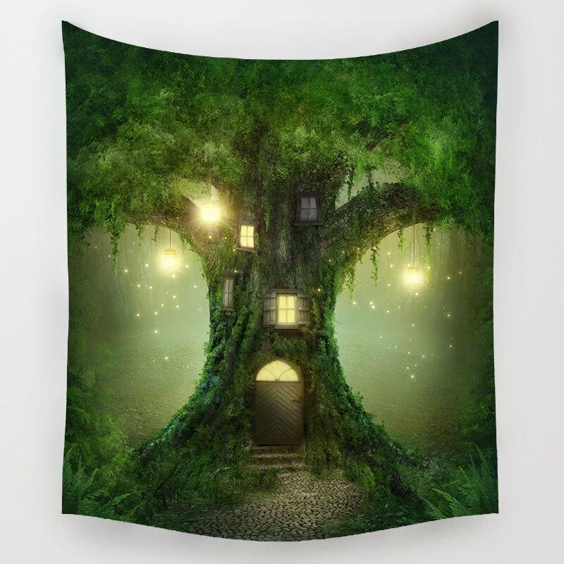 Forêt de féerie Tapisserie Bohème Tenture Tapisserie Forêt Étoilé Nuit Tapisserie pour La Maison Décorations Murales Tapisseries