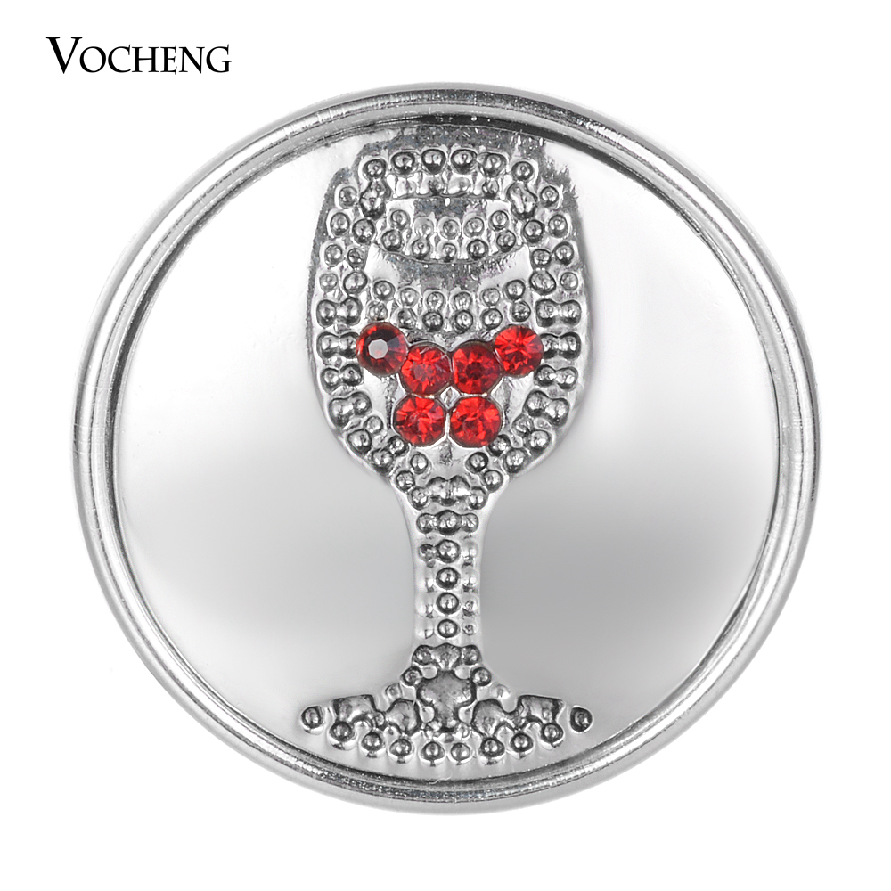 10pcs/lot 18mm Snap Button Red Wine Glass Carved With Rhinestone Snap Fit Replaceable Snap Bracelets Gift For Women Vn-2026*10 image