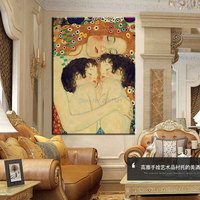 Hand painted master museum quality oil painting Gustav Klimt famous Reproduction Mother And Child twins Canvas oil painting