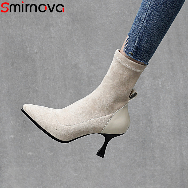 Smirnova black fashion autumn new arrival shoes woman elegant street style ladies boots mixed colors ankle boots women big size