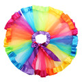 Girls Kids Petticoat Classic  Rainbow Chiffon Skirt Pettiskirt Bowknot Pleated Skirt Tutu Skirt Dancewear 0-8Y