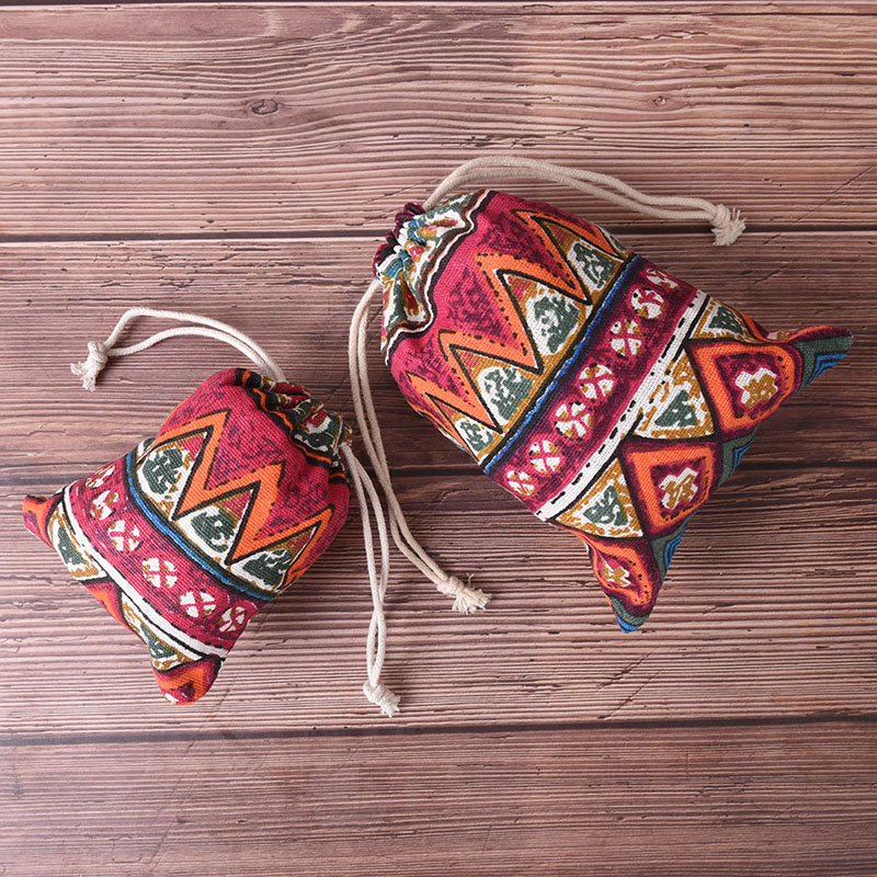 Ethnic Style Beam Port Storage Gift Bag Practical Unisex Pouch Cluch Shopping Bags Ethnic Style Printing Drawstring Bag