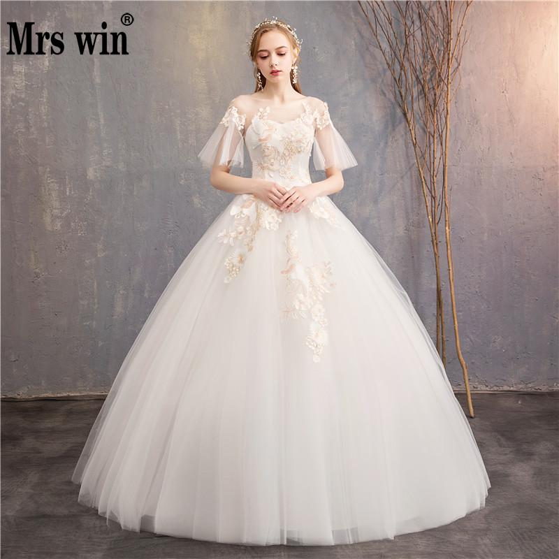 2019 New Flare Sleeve Princess Colorful Wedding Dresses Mrs Win O neck Classic Champagne Embroidery Vestido