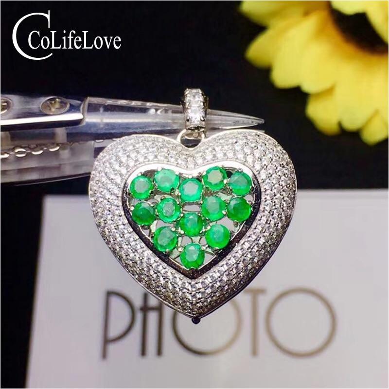 Mode 925 Pendentif Coeur 13 pcs 3mm Naturel Émeraude Pendentif En Argent Émeraude Bijoux Cadeau pour Femme