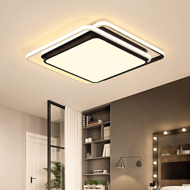 Square 380/480mm Led Chandelier For Bedroom Study Room Living Room White+Black Color Remote Control Modern Led ChandelierSquare 380/480mm Led Chandelier For Bedroom Study Room Living Room White+Black Color Remote Control Modern Led Chandelier