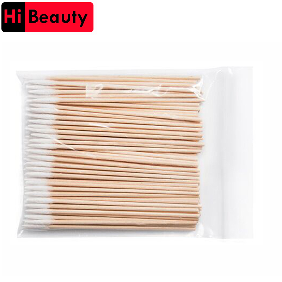 High Quality 1 Bag 100pcs Wooden Cotton Stick Swabs Buds For Cleaning The Ears Eyebrow Lips Eyeline Tattoo Makeup Cosmetics