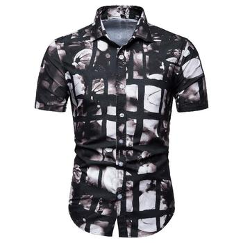 Shirt Dress Fashion Loose Blouse Mens Clothing Summer New model Shirts Men Floral Short-sleeved Camisa masculina hawaiian shirt men camisa social flower summer long sleeve new model shirts mens floral blouse men clothing