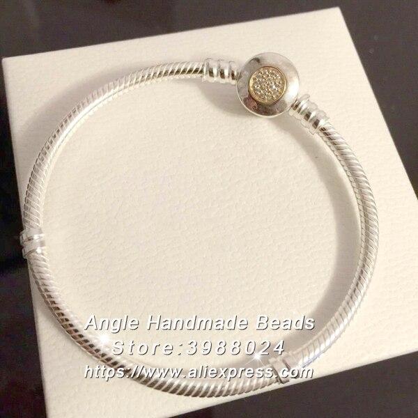 2017 bijoux fantaisie S925 en argent Sterling doré clair CZ fermoir Bracelet serpent chaîne Fit charmes européens perles