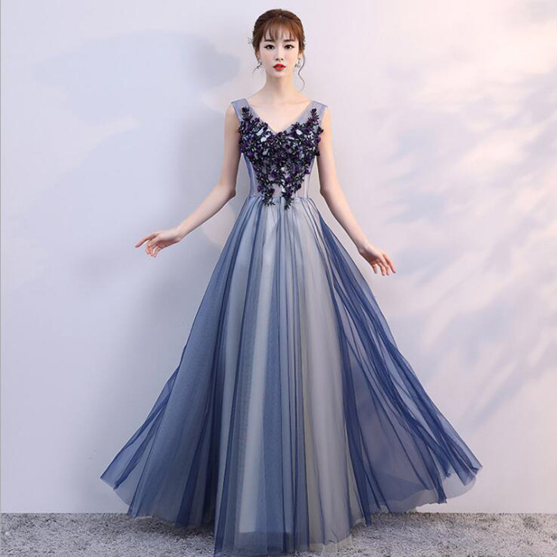 Hot Sale Luxurious V Neck colorful evening dress beaded lace full ...