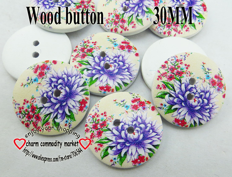 20PCS 30MM purple Daisy painting wooden buttons sewing clothes boots coat accessories 2 hole button brand MCB-819