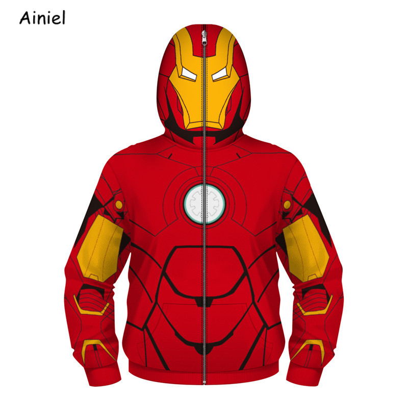 Iron Man Spider-Man Deadpool Hoodies Cosplay Costume Captain America Black White Knight Sweatshirt Hoodies Zipper Coat Girl Boy