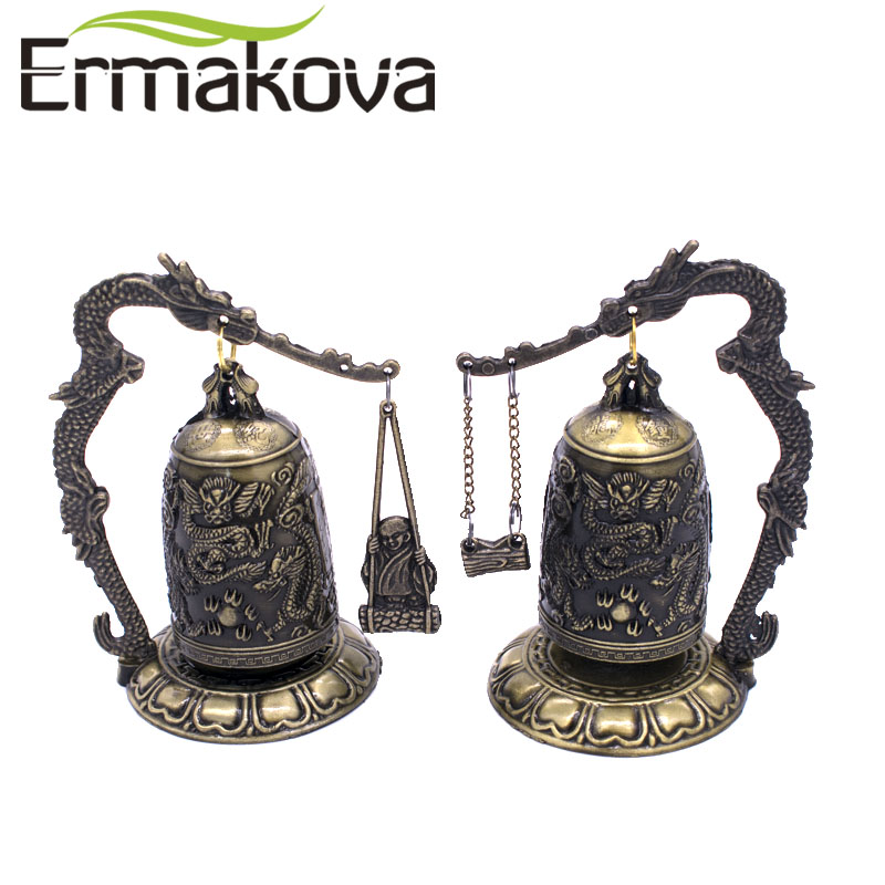 Home Office Storage 2pcs Chinese Meditation Gong With 7 Ornate Bells With Dragon Design Statue Garden Decoration 100% Tibetan Silver