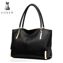 FOXER Women Cow Leather Handbags Shoulder Bag Fashion Top-Handle Tote all-match Bags Luxury High Quality Large Capacity