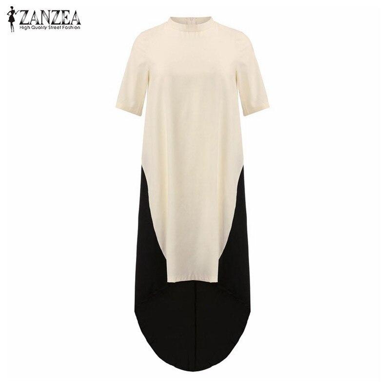 bf006a901182e Zanzeaファッション夏2018レディースタートルネック不規則な裾パッチワークドレス女性マキシロングドレスカフタンvestidosプラスサイズ