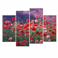 Flowers Views 4 Panels Modern Landscape Artwork HD Red Poppies Giclee Canvas Prints Floral Pictures To