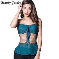 Beauty Garden Women Tops Off The Shoulder Organza See Through Butterfly Decoration Sexy Night Club Wear