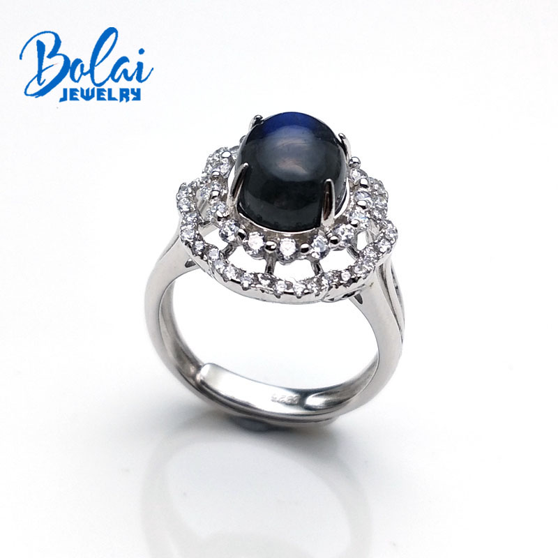 bolaijewlry Natural India labradorite oval 8 10mm 3 1ct 925 sterling silver flower ring fine jewelry