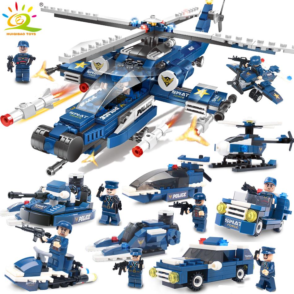 515 piezas del Swat helicóptero de la policía bloques Compatible Legoing ciudad cifras arma juguetes educativos para los niños