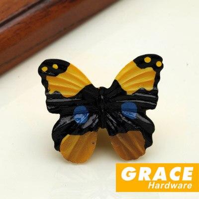 Красочные и красивая бабочка смолы рука Прекрасный Детская комната мультфильм пастырской деревни Стиль Шкаф ящика ручки