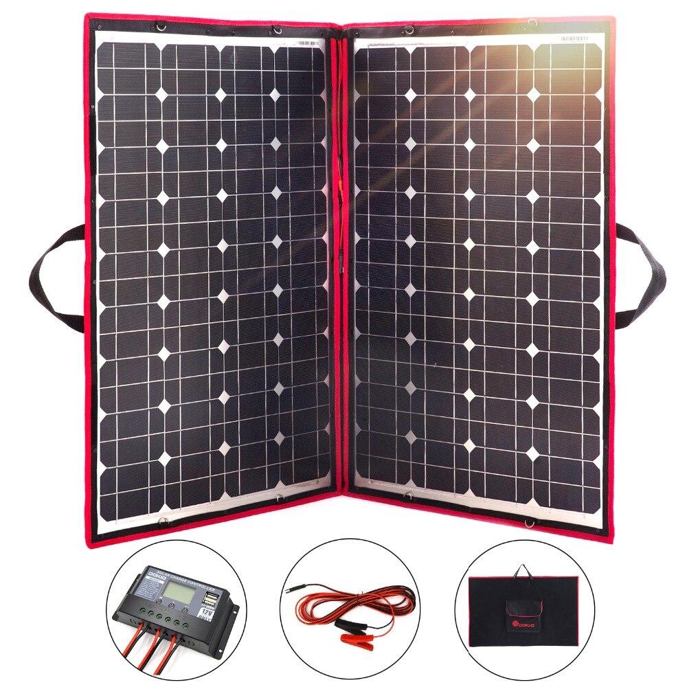 10 pièces 100 w panneau solaire 12 V Flexible pliable solaire extérieur panneaux solaires pour camping/bateaux/maison/RV 10A usb contrôleur solaire